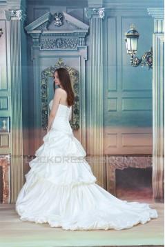 New design Strapless A-Line Satin Sleeveless Sweet Wedding Dresses 2031257