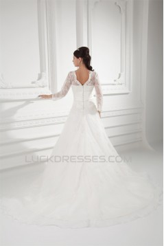 New Style A-Line Long Sleeve V-Neck Satin Organza Lace Wedding Dresses 2031258