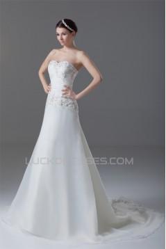 New Style Sleeveless A-Line Satin Organza Sweetheart Wedding Dresses 2031259