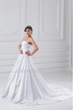 New Style Strapless Sleeveless Satin A-Line New Arrival Wedding Dresses 2031260