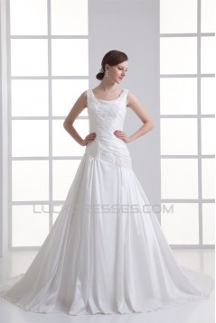 New Style Taffeta Straps A-Line Sleeveless Best Wedding Dresses 2031261