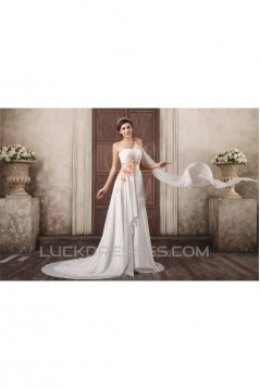 One-Shoulder A-Line Sleeveless Chiffon Satin Wedding Dresses with Jackets 2031262