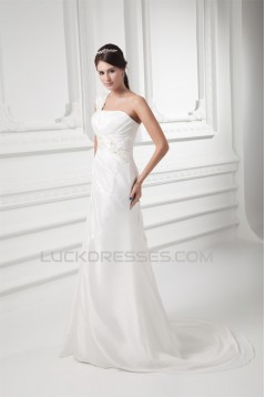 One-Shoulder Sleeveless Taffeta Mermaid/Trumpet Best Wedding Dresses 2031263