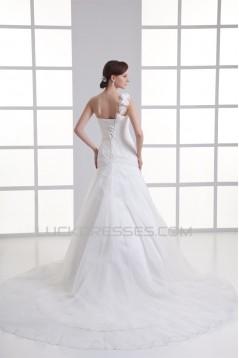 Organza Taffeta One-Shoulder Sleeveless New Arrival Wedding Dresses 2031264