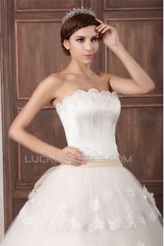 Princess Sleeveless Satin Fine Netting Strapless Wedding Dresses 2031265