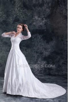 Satin Lace A-Line 3/4 Length Sleeve V-Neck Embellished Wedding Dresses 2031266