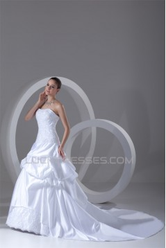 Satin A-Line Sleeveless Soft Sweetheart New Arrival Wedding Dresses 2031267