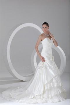 Satin A-Line Sleeveless Sweetheart Beautiful Wedding Dresses 2031268