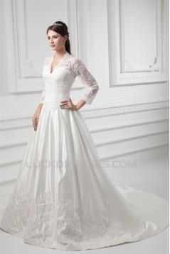 Satin Lace Fine Netting 3/4 Length Sleeve V-Neck New Arrival Wedding Dresses 2031269