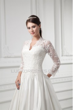 Satin Lace Fine Netting 3/4 Length Sleeve V-Neck New Arrival Wedding Dresses 2031269