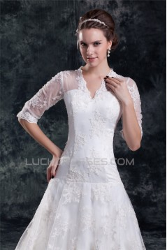 Satin Lace A-Line V-Neck Half Elbow Sleeve Sweet Wedding Dresses 2031272