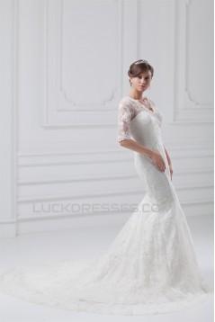 Satin Lace Half Elbow Sleeve Mermaid/Trumpet Most Beautiful Wedding Dresses 2031273