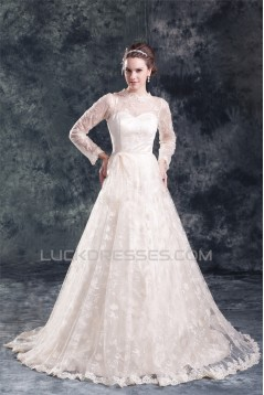 Satin Lace Long Sleeve A-Line High-Neck New Arrival Wedding Dresses 2031274