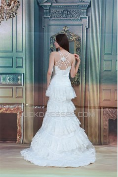 Satin Lace Mermaid/Trumpet Sleeveless Spaghetti Straps Wedding Dresses 2031276
