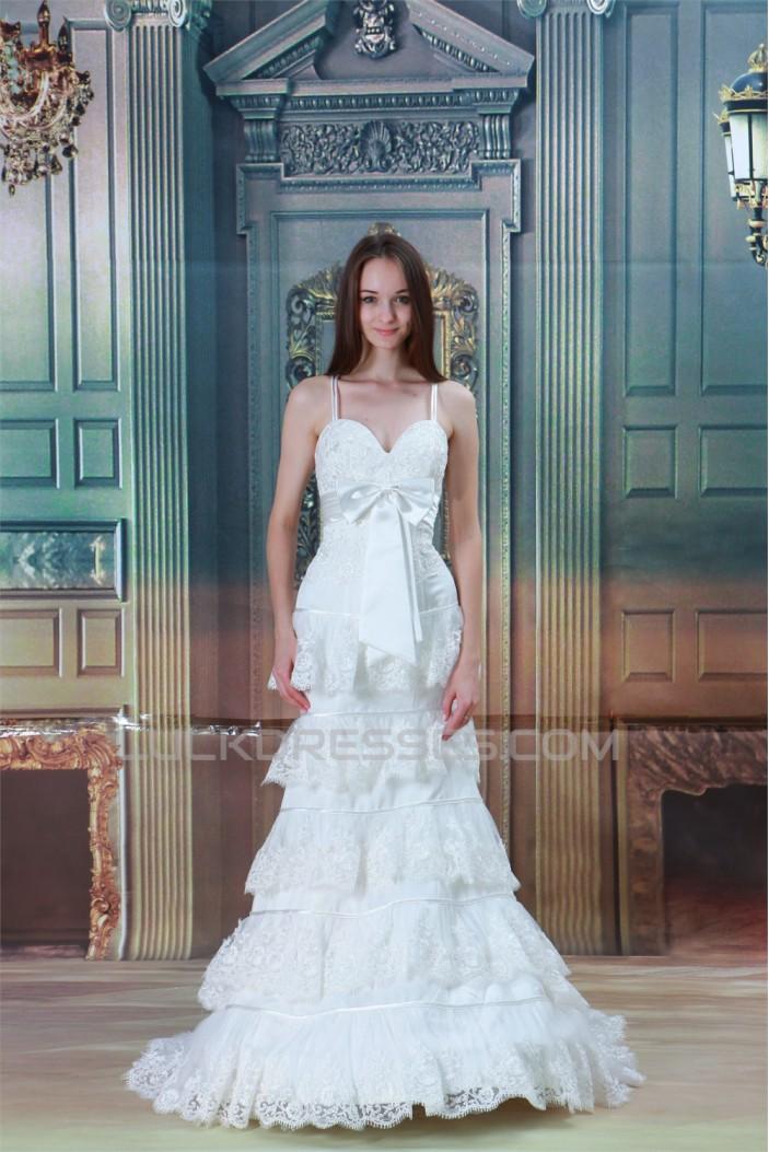 Satin Lace Mermaid/Trumpet Sleeveless Spaghetti Straps Wedding Dresses 2031276