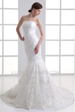 Satin Lace Mermaid/Trumpet Sleeveless Strapless Wedding Dresses 2031277