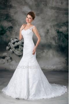Satin Lace Mermaid/Trumpet V-Neck New Arrival Wedding Dresses 2031278