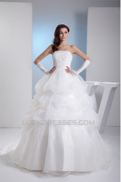 Ball Gown Strapless Chapel Train Lace Wedding Dresses 2030128