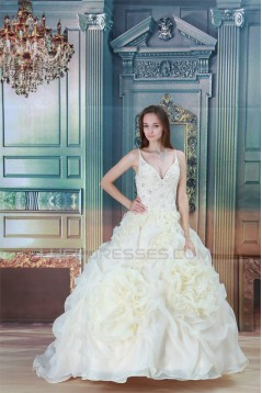 Satin Lace Sleeveless Ball Gown Spaghetti Straps New Arrival Wedding Dresses 2031280