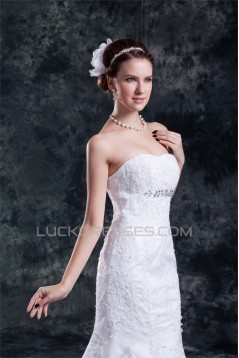 Satin Net Sweetheart Mermaid/Trumpet Sleeveless Wedding Dresses 2031283