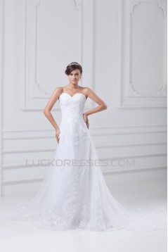 Satin Net Sweetheart Sleeveless A-Line Most Beautiful Wedding Dresses 2031284