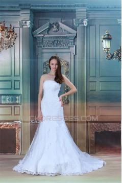 Satin Netting Sleeveless Strapless Mermaid/Trumpet Wedding Dresses 2031286
