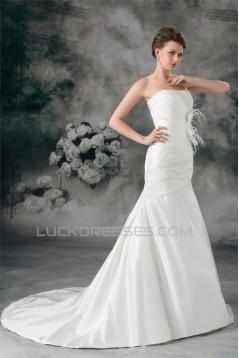 Satin One-Shoulder Mermaid/Trumpet Sleeveless Wedding Dresses 2031287