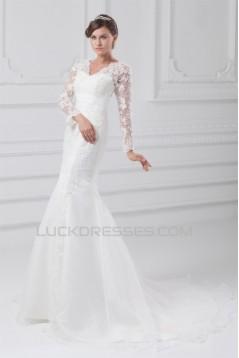 Satin Lace Organza Long Sleeve Mermaid/Trumpet Wedding Dresses 2031289