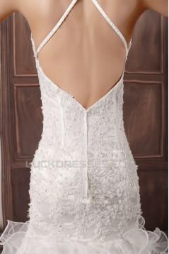 Satin Lace Organza Mermaid/Trumpet Spaghetti Straps Beautiful Wedding Dresses 2031290