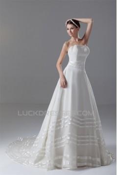Satin Organza Sleeveless A-Line Strapless Best Wedding Dresses 2031291
