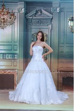 Satin Organza Sleeveless A-Line Strapless New Arrival Wedding Dresses 2031292