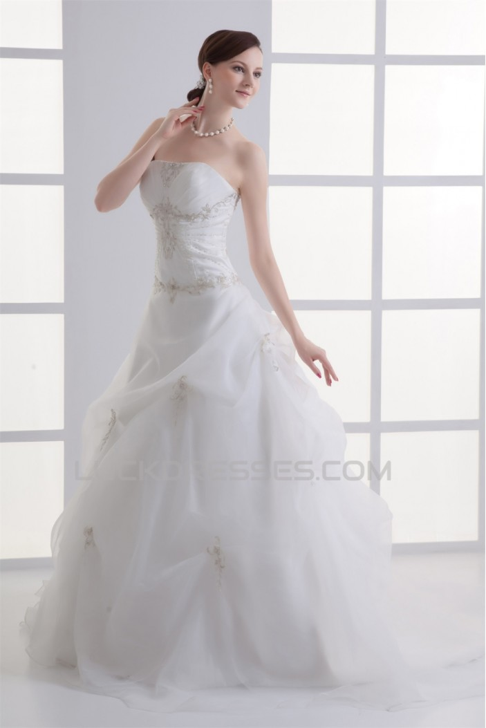 Satin Organza Sleeveless Ball Gown Strapless Embellished Wedding Dresses 2031293