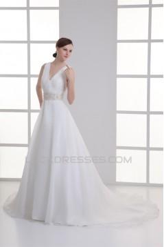 A-Line Satin Organza Sleeveless V-Neck Beaded Wedding Dresses 2031294
