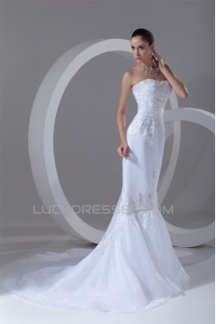 Satin Organza Sleeveless Soft Sweetheart Wedding Dresses 2031295