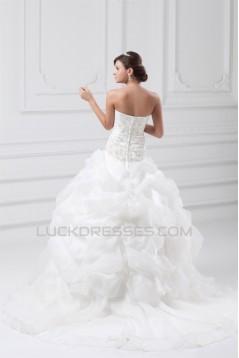 Satin Organza Sleeveless Strapless Ball Gown Most Beautiful Wedding Dresses 2031296