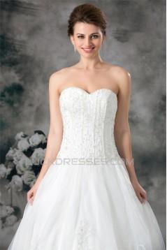 Satin Organza Sleeveless Sweetheart A-Line New Arrival Wedding Dresses 2031297