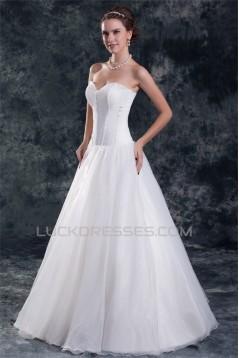 Satin Organza Sleeveless Sweetheart A-Line Sweet Wedding Dresses 2031298