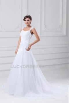 Satin Organza Straps A-Line Sleeveless Embellished Wedding Dresses 2031300