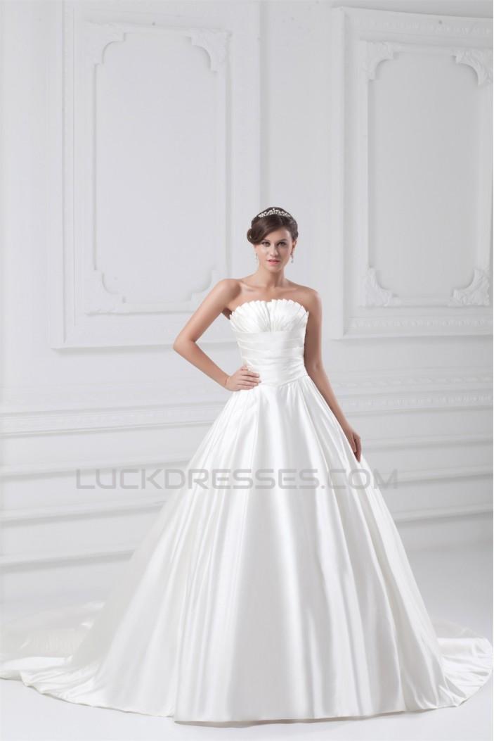 Satin Sleeveless Strapless Ball Gown New Arrival Wedding Dresses 2031302