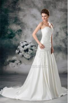 Satin Sweetheart Sleeveless A-Line Wedding Dresses 2031303