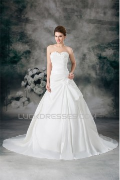 Satin Sweetheart Sleeveless A-Line New Arrival Wedding Dresses 2031304