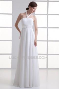 Sheath/Column Chiffon Elastic Woven Satin Halter Wedding Dresses 2031306