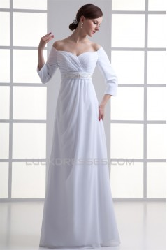Sheath/Column Off-the-Shoulder 3/4 Length Sleeve Wedding Dresses 2031309