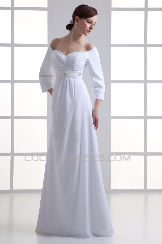Sheath/Column Off-the-Shoulder 3/4 Length Sleeve Wedding ...