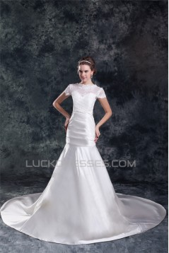 Short Sleeve Mermaid/Trumpet Bateau Satin Lace Beautiful Wedding Dresses 2031312