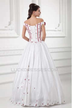 Sleeveless A-Line Off-the-Shoulder Satin Wedding Dresses with Color 2031313