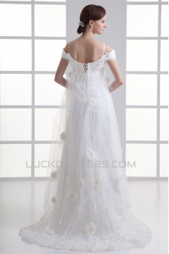A-Line Satin Fine Netting Off-the-Shoulder Wedding Dresses Maternity Wedding Dresses 2031314