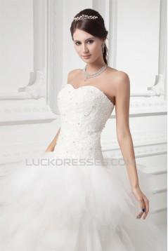 Sleeveless A-Line Strapless Satin Fine Netting Beaded Lace Wedding Dresses 2031315