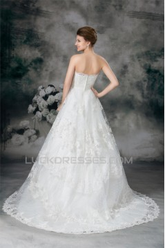Sleeveless Ball Gown Satin Fine Netting Beaded Lace Wedding Dresses 2031316