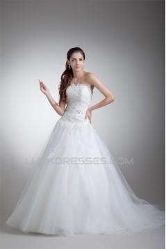 Sleeveless Ball Gown Satin Net Strapless New Arrival Wedding Dresses 2031317